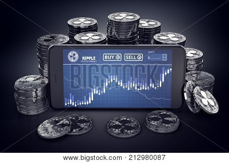 Smartphone with Ripple trading chart on-screen among piles of silver Ripple coins. Ripple coin trading concept. 3D rendering