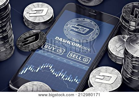 Smartphone with Dashcoin trading chart on-screen among piles of silver Dashcoins. Dashcoin trading concept. 3D rendering