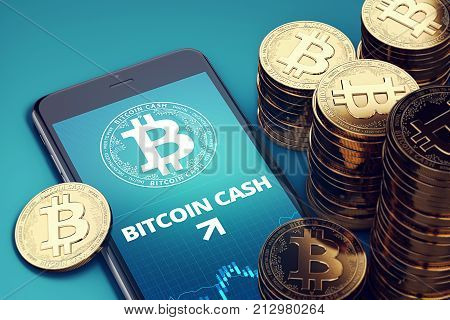 Smartphone with Bitcoin Cash growth chart on-screen among piles of golden Bitcoin Cash coins. BCC/BCH growth concept. 3D rendering