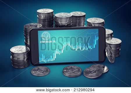 Smartphone with Ethereum growth chart on-screen among piles of Ether. Ethereum growth concept. 3D rendering