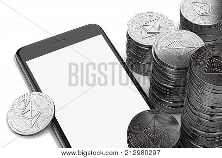 Smartphone with empty copy space on-screen among piles of Ether isolated on white. 3D rendering