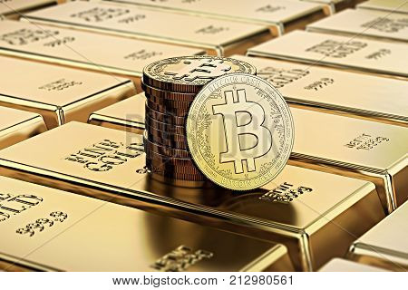 Bitcoin Cash coins laying on stacked gold bars (gold ingots) rendered with shallow depth of field. Concept of highly desirable cryptocurrency. 3D rendering