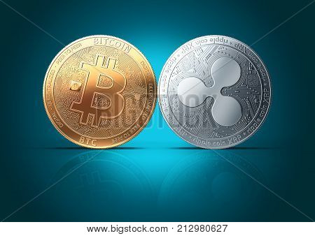 Clash of Bitcoin and Ripple (XRP) coins on a gently lit reflective turquoise background with copy space. Competing cryptocurrencies concept. 3D rendering