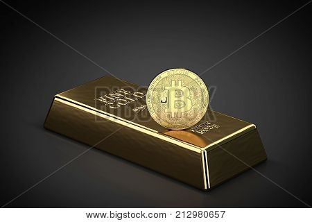 Golden Bitcoin standing on the gold ingot (bullion bar) as symbol of domination on global markets. Bitcoin as a future gold (most precious commodity in the world). 3D rendering