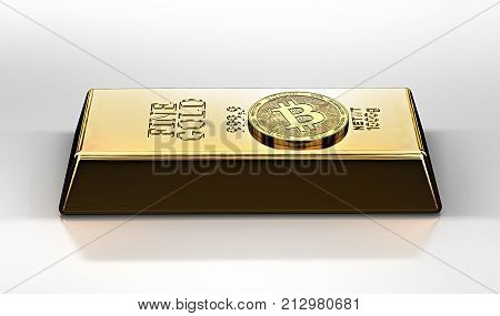 Golden Bitcoin laying on the gold ingot (bullion bar). Bitcoin as a future gold (most precious commodity in the world). 3D rendering
