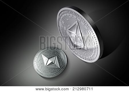 Tiny silver Ethereum Classic (ETC) laying on the ground in front of huge silver Ethereum (ETH) coin. Ethereum domination concept. 3D rendering. New virtual money