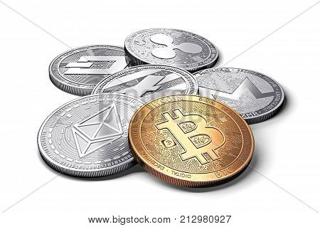 stack of cryptocurrencies: bitcoin ethereum litecoin monero dash and ripple coin together isolated on white 3D rendering