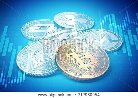 Cryptocurrencies success graphs with charts climbing up. Cryptocurrencies growth concept. 3D rendering