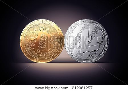 Clash of Bitcoin and Litecoin coins on a gently lit dark background. Competing cryptocurrencies concept. Virtual money. 3d rendering