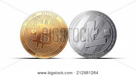 Clash of Bitcoin and Litecoin coins isolated on white background. Competing cryptocurrencies concept. Virtual money
