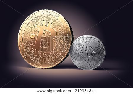 Clash of golden Bitcoin with silver Ethereum on gently lit background (new virtual money). 3d rendering