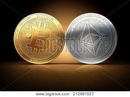 Bitcoin and Ethereum fights for the leadership on a gently lit dark background. Competing cryptocurrencies concept. 3D rendering