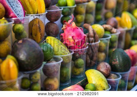 Local street fruit shop in Luang Prabang, Laos