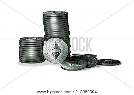 Big stack of Ethereum classic (ETC) coins isolated on white background. ETC growth concept. New virtual money 3D render.