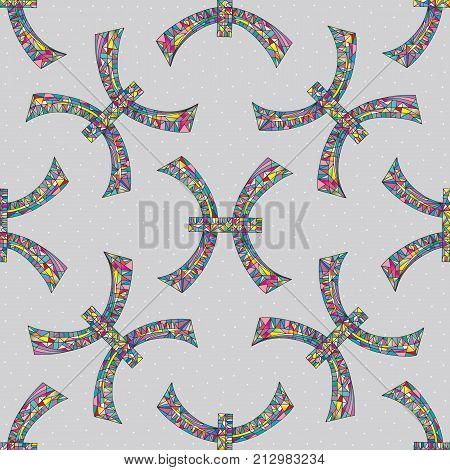 Pisces zodiac sign seamless pattern. Horoscope symbol background. Hand drawn astrological vector texture for wallpaper wrapping textile design surface texture fabric.