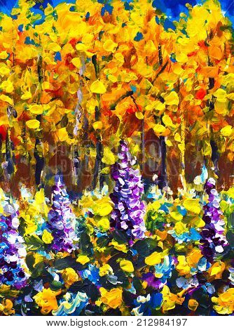 Original oil painting Big Flowers in autumn forest painting. Illustranion orange trees Purple white blue flowers in forest. Beautiful magic expressionism landscape. Modern palette knife nanure impressionism painting art.