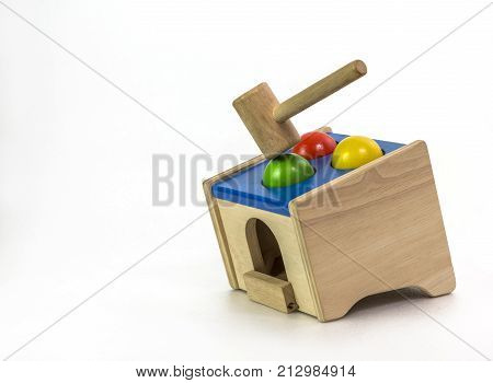 Wood Hammer And Wood Ball Toy Or Wood Hammer Toy Hit Wood Ball Toy