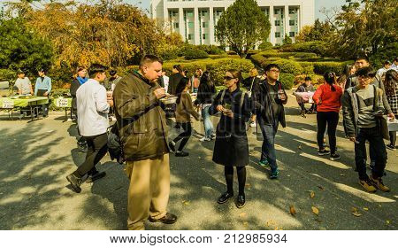 Attendees Enjoy A Variety Of Food While Walking Around