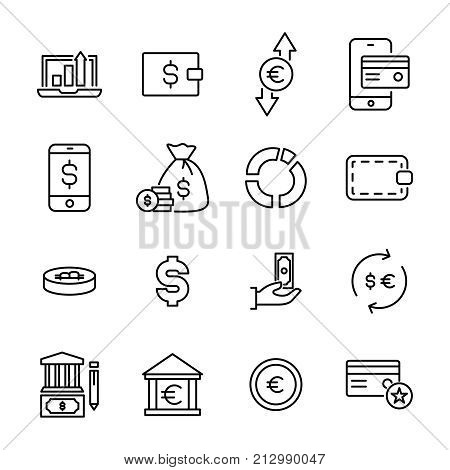 Simple collection of finance related line icons. Thin line vector set of signs for infographic, logo, app development and website design. Premium symbols isolated on a white background.