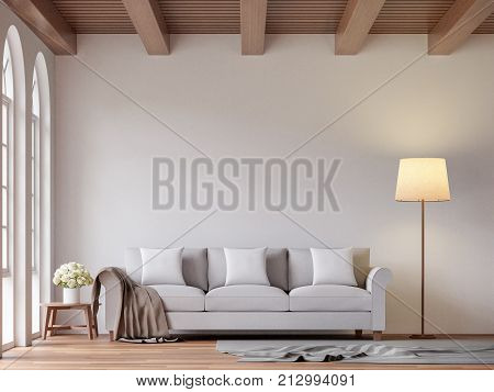 Scandinavian living room 3d rendering image.The Rooms have wooden floors and ceilings with white walls and arch windows.The room is furnished with light gray fabric sofas.