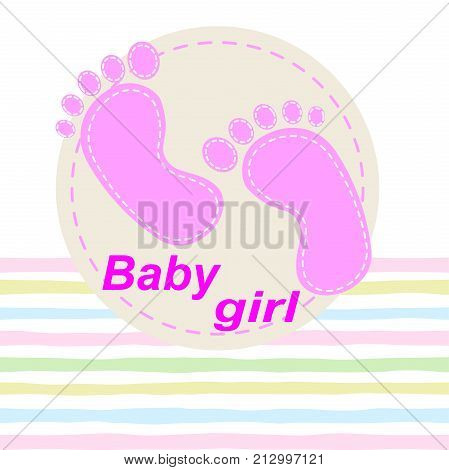 Seamless pattern with baby footprint. Footprints girls on striped background