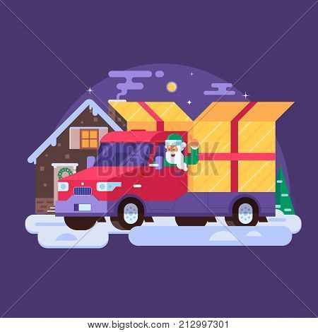 Holiday background or banner in flat design. Christmas delivery service concept with Santa Claus delivering gift box to rural winter cottage on holiday van. Xmas presents shipment illustration.