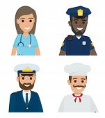 Four professions vector illustration of female doctor in blue uniform, black male policeman, bearded sailor and whiskered chef cook poster