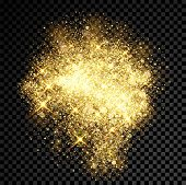Gold glitter cloud or shining particles explosion burst. Luxury golden sparkles texture effect on vector black transparent background. Gleaming stars lights or sparkling confetti cloud spray poster