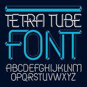 Vector upper case modern alphabet letters set. Artistic font typescript for use in logo creation. Made using cube tetra tube design. poster