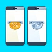 Two mobile phones with coin slotes and gold and silver percent coins are inserting at the screen. Money, discount, cashback, percentage, donation, business concept. Vector flat illustration. poster