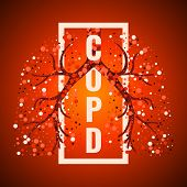 COPD awareness frame poster with lungs filled with air bubbles on red background.  Chronic obstructive pulmonary disease symbol. Medical template for clinics and centers. Vector illustration. poster