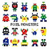Vector pixel invaders vector illustration. Colored pixelated retro space monsters for 8 bit arcade computer game poster