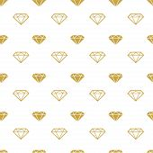 Diamonds seamless pattern. Vector girly background with gold brilliants. Fashion wrapping or fabric pattern poster