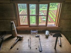 work bench, tools, and vegetable garden at Monticello, Virginia