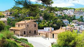 Landscape of Tossa de Mar, Spain. From inside the old castle