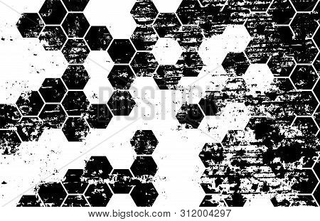 Distress Hexagonal Grid. Grunge Black And White Distress Texture. Isolated On White Background.