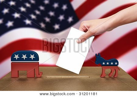 Hand with ballot and wooden box on Flag of USA, party icon