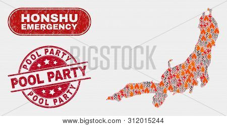 Vector Collage Of Wildfire Honshu Island Map And Red Rounded Textured Pool Party Watermark. Emergenc