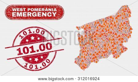Vector Composition Of Wildfire West Pomeranian Voivodeship Map And Red Round Textured 101.00 Stamp.