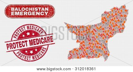 Vector Composition Of Hazard Balochistan Province Map And Red Round Grunge Protect Medicare Watermar