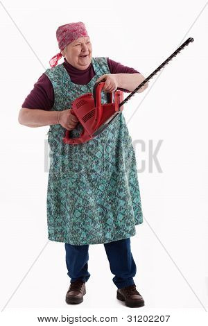 Happy Elderly Woman Holding An Electric Garden Saw