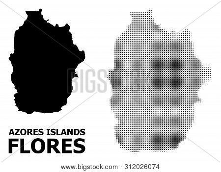 Halftone And Solid Map Of Azores - Flores Island Composition Illustration. Vector Map Of Azores - Fl