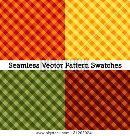 Gingham Cross Weave Seamless Patterns, Vector File Includes Four Pattern Swatches That Will Seamless