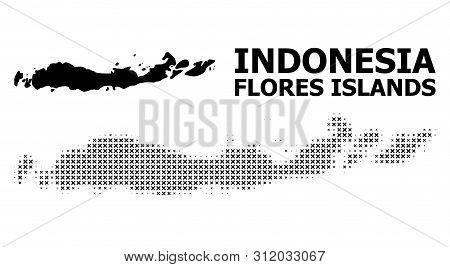 Halftone And Solid Map Of Indonesia - Flores Islands Composition Illustration. Vector Map Of Indones