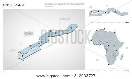 Vector Set Of Gambia Country.  Isometric 3d Map, Gambia Map, Africa Map - With Region, State Names A