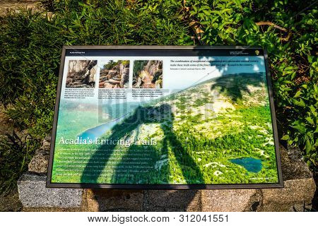 Acadia National Park, Me, Usa - August 15, 2018: The Acadia Enticing Trails