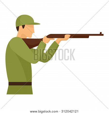 Army Shooter Icon. Flat Illustration Of Army Shooter Vector Icon For Web Design
