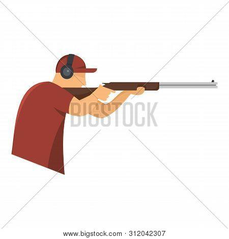 Shooter In Baseball Cap Icon. Flat Illustration Of Shooter In Baseball Cap Vector Icon For Web Desig