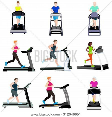 Treadmill icons set. Flat set of treadmill vector icons for web design poster