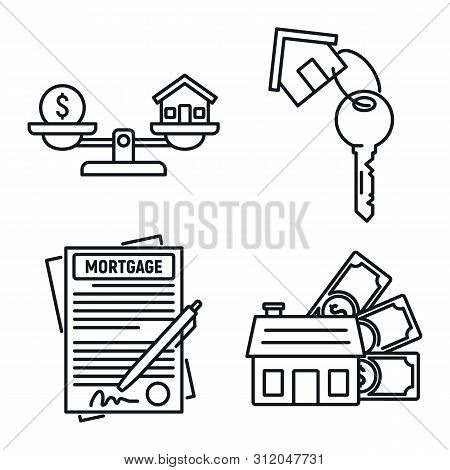 Mortgage Approved Icons Set. Outline Set Of Mortgage Approved Vector Icons For Web Design Isolated O